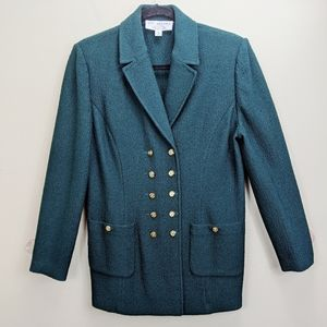 St John Collection Green Knit Blazer Size 8